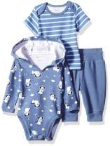 Hanes Ultimate Baby Flexy Knit Jogger with Hoodie and Short Sleeve Crew Set