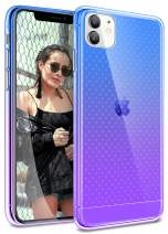 Sankmi Compatible with iPhone 11 Case,Clear Gradient Cute Slim Soft Bumper Grip for iPhone 11 Case 6.1 Inch 2019 Anti Scratch Shock Absorption Wireless Charging 11 iPhone Case (Blue Purple)