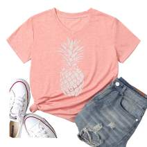 Hellopopgo Pineapple Women's Funny Summer Cute T Shirt Lover Short Sleeve Graphic Tees Casual Blouse Tops Vacation Tees