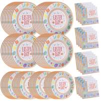 200PCS Easter Party Supplies Paper Plates and Napkins Bulk 9 inch 7 inch Dessert Round Disposable Plates Eco Friendly Party Tableware Set (for Easter)