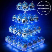 Weddingwish Acrylic Cupcake Stand with Lights, Cupcake Dessert Display Holder for Wedding, Party, Baby Shower, 4 Tier Square, Blue