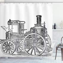 """Ambesonne Steam Engine Shower Curtain, Old Fireman Truck Drawing Effect Picture British Antique Transport, Cloth Fabric Bathroom Decor Set with Hooks, 75"""" Long, Charcoal White"""