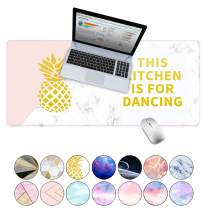 "LuvCase Desk Pad, Office Desk Mat, 35.4"" x 15.7"" PU Leather Desk Blotter, Laptop Desk Mat, Waterproof Desk Writing Pad for Office and Home Decor, Thick Gaming Mouse Pad (Pineapple White Marble)"