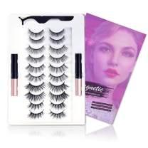 REEWES 10 Pairs Magnetic Eyelashes with Eyeliner Kits,5D 6D Reusable Natural Look False Lashes with Applicator,3D Long Magnetic Eyelash Set-No Glue