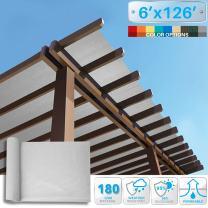 Patio Paradise 6' x 126' Sunblock Shade Cloth Roll,Light Grey Sun Shade Fabric 95% UV Resistant Mesh Netting Cover for Outdoor,Backyard,Garden,Plant,Greenhouse,Barn