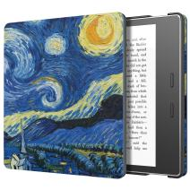 MoKo Case Fits All-New Kindle Oasis (9th and 10th Generation ONLY, 2017 and 2019 Release), Slim Fit Premium PU Leather Protective Cover with Auto Wake/Sleep - Starry Night