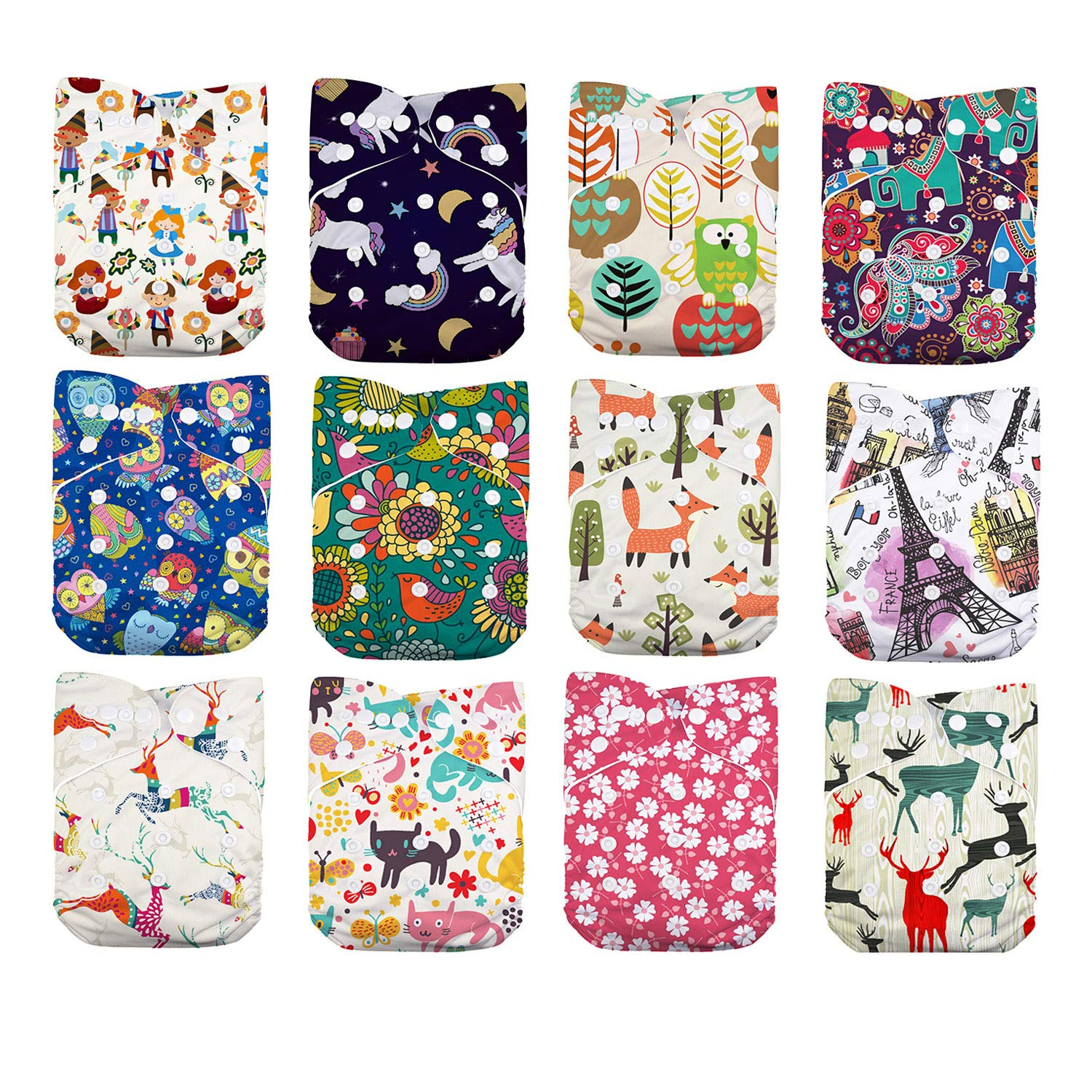 LilBit Baby Cloth Diapers,One Size Adjustable Reusable Pocket Cloth Diaper 12pcs Diapers + 12pcs Charcoal Bamboo Inserts+1 Wet Bag, (color4)