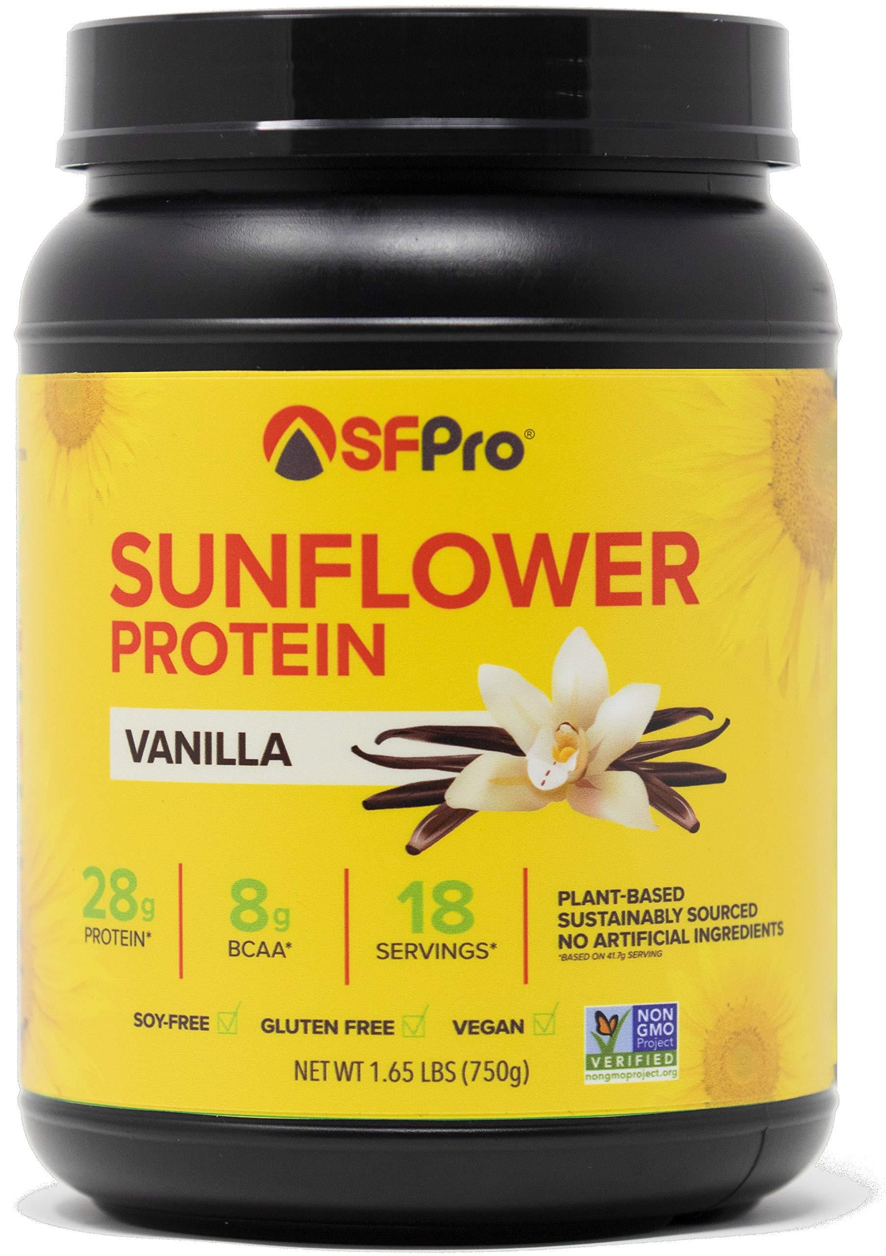 Plant Based Vegan Protein Powder by SFPro (Vanilla)   Premium Sunflower Protein, Single Source   High BCAAs, Balanced Amino Acids, All Natural   1.65lbs