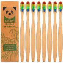 Genkent Natural Bamboo Toothbrush Made with Rainbow BPA Free Soft Bristles in Eco Friendly Recycled Biodegradable Packaging (8 Counts)