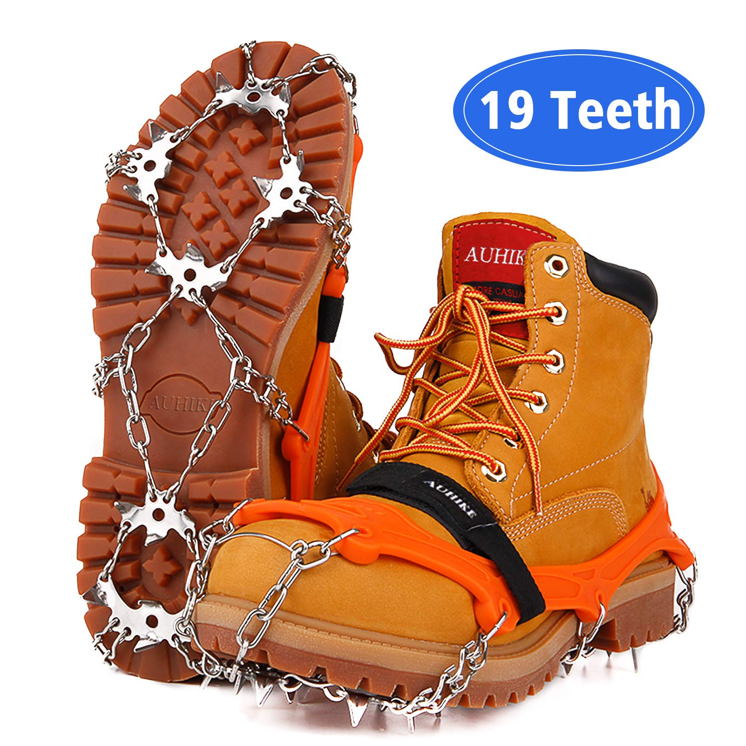 AUHIKE Upgraded Version 19 Spikes Traction Cleats Ice Snow Grips with Tear-Resistant Gasket Seamless Welded Steel Safe Protect,Crampons for Hiking Fishing Jogging Mountaineering Walking