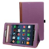Wesslsco Case for All-New Amazon Fire HD 10 2017/2018/2019 Tablet (2019 9th Generation), PU Leather Slim Folding Stand Cover with Auto Wake/Sleep for Fire HD 10.1 Inch Tablet (Purple)