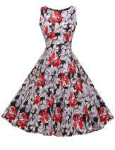 ACEVOG Cocktail Dress 1950's Floral Vintage Party Dress Plus Size