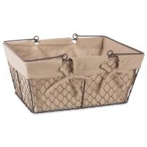 DII Chicken Wire Baskets for Storage with Removable Fabric Liner, Egg, Natural