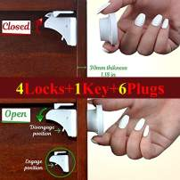 Magnetic Child Safety Cabinets Locks Baby Proofing 3M Adhesive For Cabinets Drawers Cupboard (4 Locks 1 Key) BONUS 6 Outlet plug Covers (White) By AYUSHKAbaby