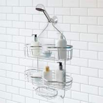 Splash Home Today Shower Caddy Bathroom Hanging Head Two Basket Organizers Plus Dish for Storage Shelves for Shampoo, Conditioner and Soap, 15 x 6 x 6, Chrome