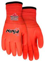 MCR Safety Ninja Ice N9690FCOXXL Hi-Visibility Work Gloves, 15 Gauge Hi-Vis Orange Nylon Shell, 7 Gauge Insulated Terry Liner, HPT Full Coat, XX-Large