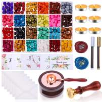 Sealing Wax, Anezus 663pcs Wax Letter Seal Kit with Wax Sealing Beads, Wax Seal Warmer, Wax Stamp, Thank You Cards and Envelopes for Stamp Seals, Letter Sealing, Crafts and Decoration