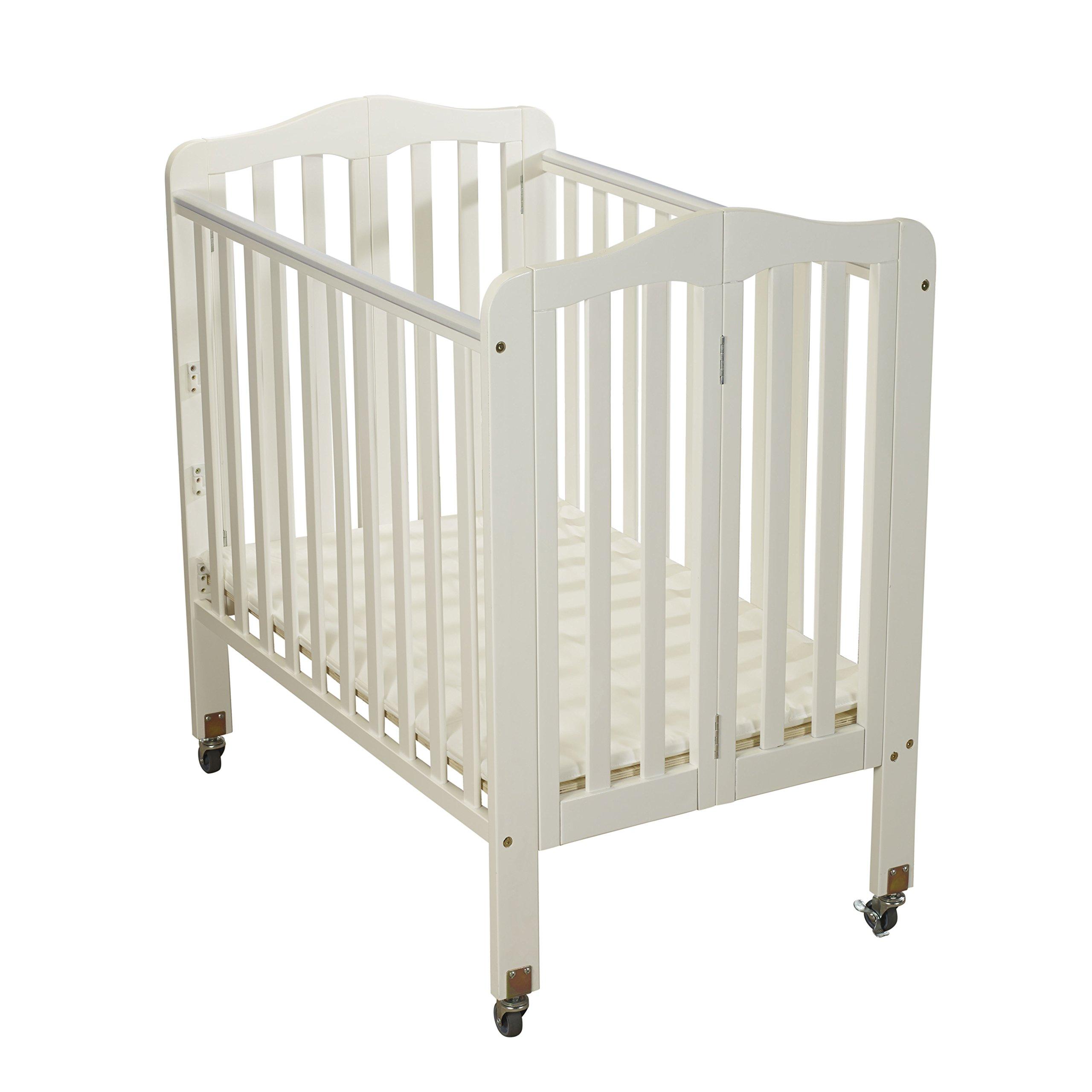 Big Oshi Angela Portable, Folding Baby Crib Frame on Wheels - Adjustable Mattress Height, Low to High - Modern, Unisex Wood Design for Boys or Girls - Sturdy, Lightweight, Side Crib, White