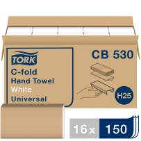Tork Universal C-Fold Hand Towel H25, Disposable Paper Hand Towel CB530, 100% Recycled Fibers, 1-Ply, White - 16 x 150 Sheets