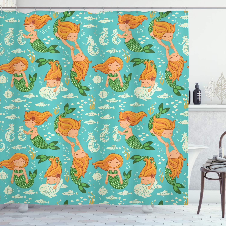 "Ambesonne Underwater Shower Curtain, Underwater World Little Mermaid Girls Friends Seahorse Fish Shells, Cloth Fabric Bathroom Decor Set with Hooks, 70"" Long, Teal Orange"
