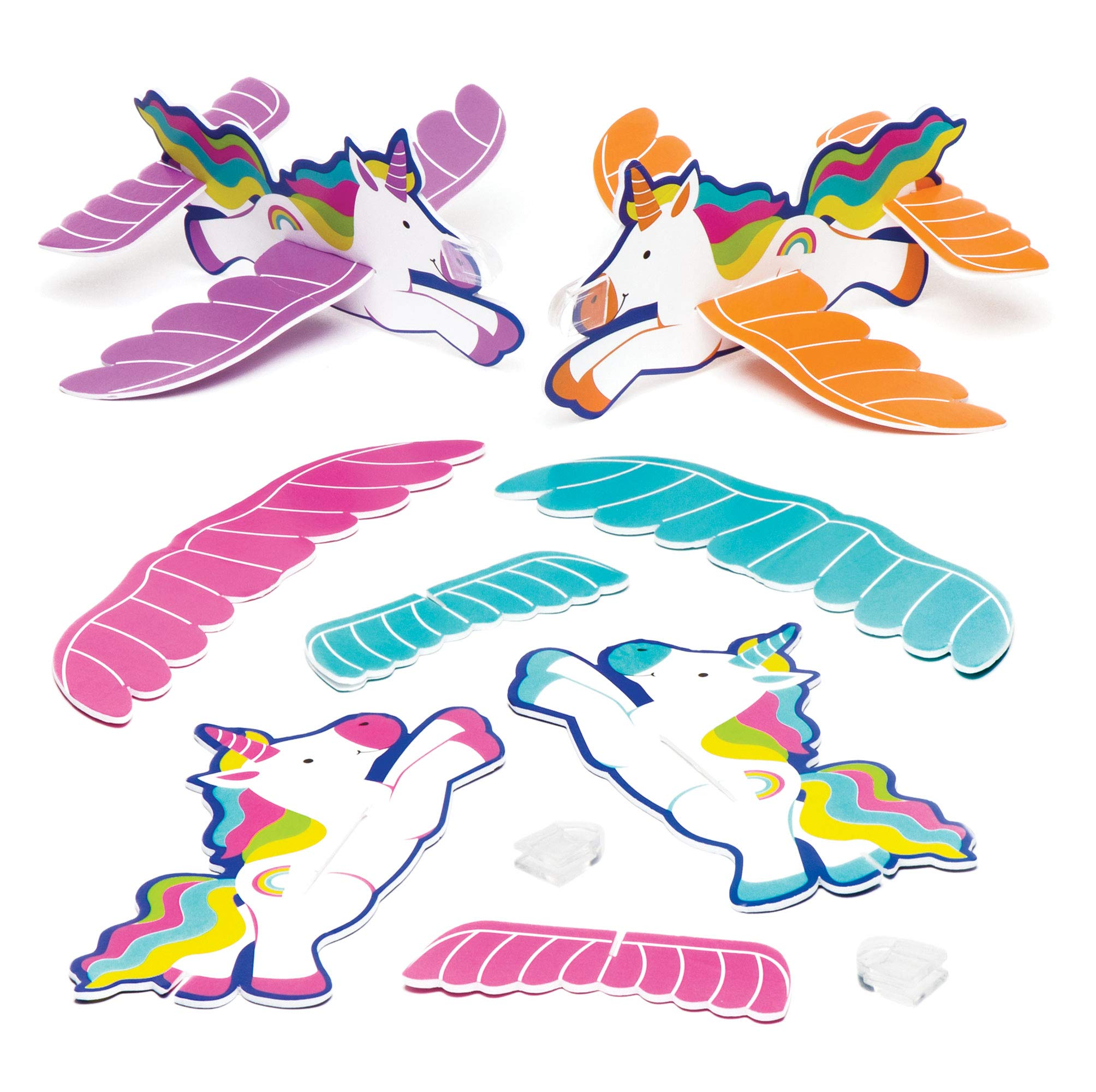 Baker Ross Rainbow Unicorn Gliders Value Pack — Novelty Toys for Kids, Perfect Party, Loot or Prize Bag Filler, Assorted Colors (Pack of 8)