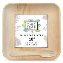 Chic Leaf Disposable Palm Leaf Plates 10 Inch (25) & Wood Forks (25) Party Pack - Bamboo Plates Like Biodegradable Compostable - Stronger Than Plastic and Paper Plates