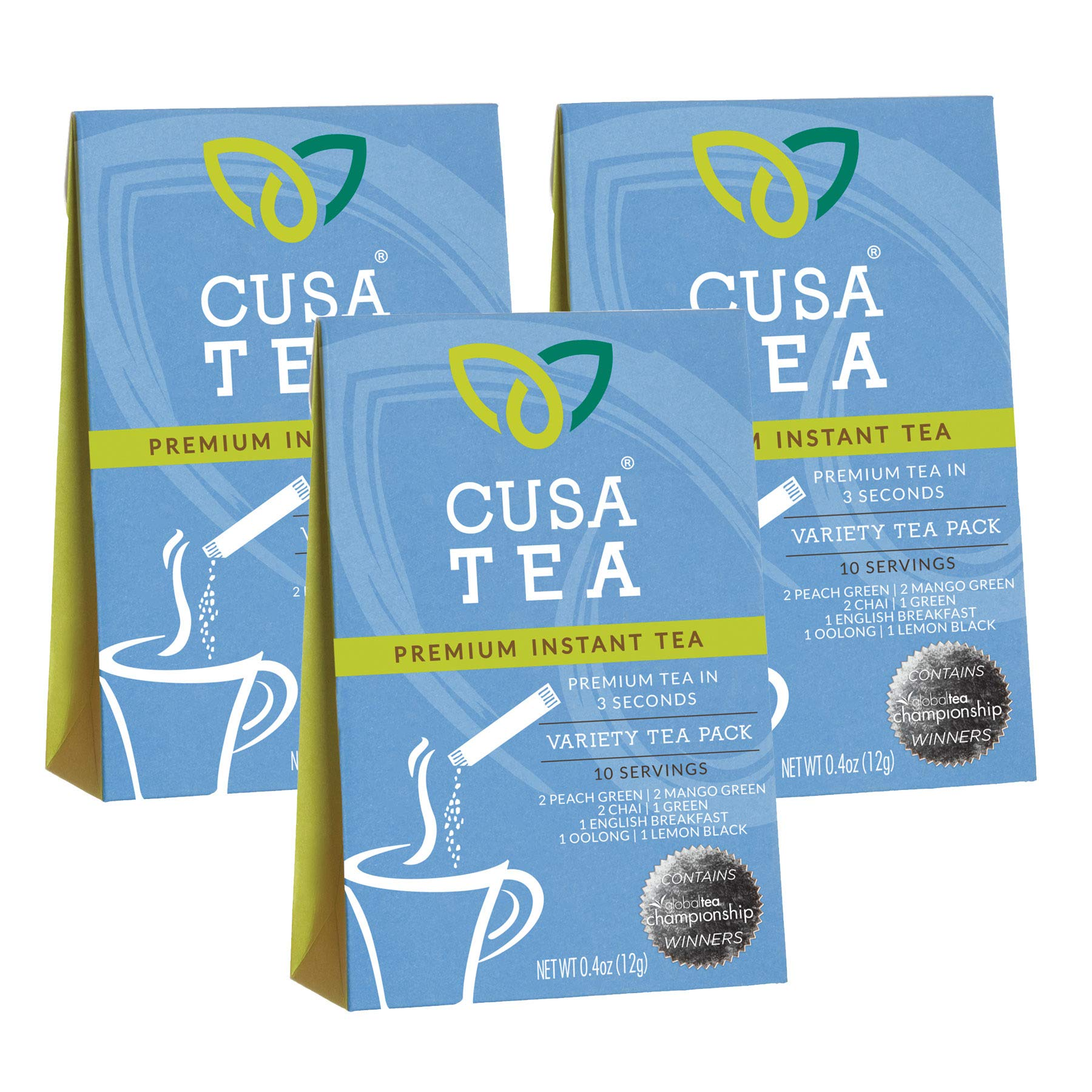Cusa Tea Variety Packs and Bundles: Premium Instant Tea - No Sugar or Artificial Ingredients - Ready in Seconds - Iced or Hot (Three Variety Packs)