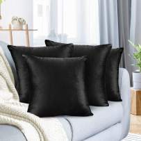 """Nestl Bedding Throw Pillow Cover 16"""" x 16"""" Soft Square Decorative Throw Pillow Covers Cozy Velvet Cushion Case for Sofa Couch Bedroom, Set of 4, Black"""
