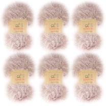 BambooMN JubileeYarn 50g Eyelash Ruffle Fur Yarn, 6 Skeins Old Lace