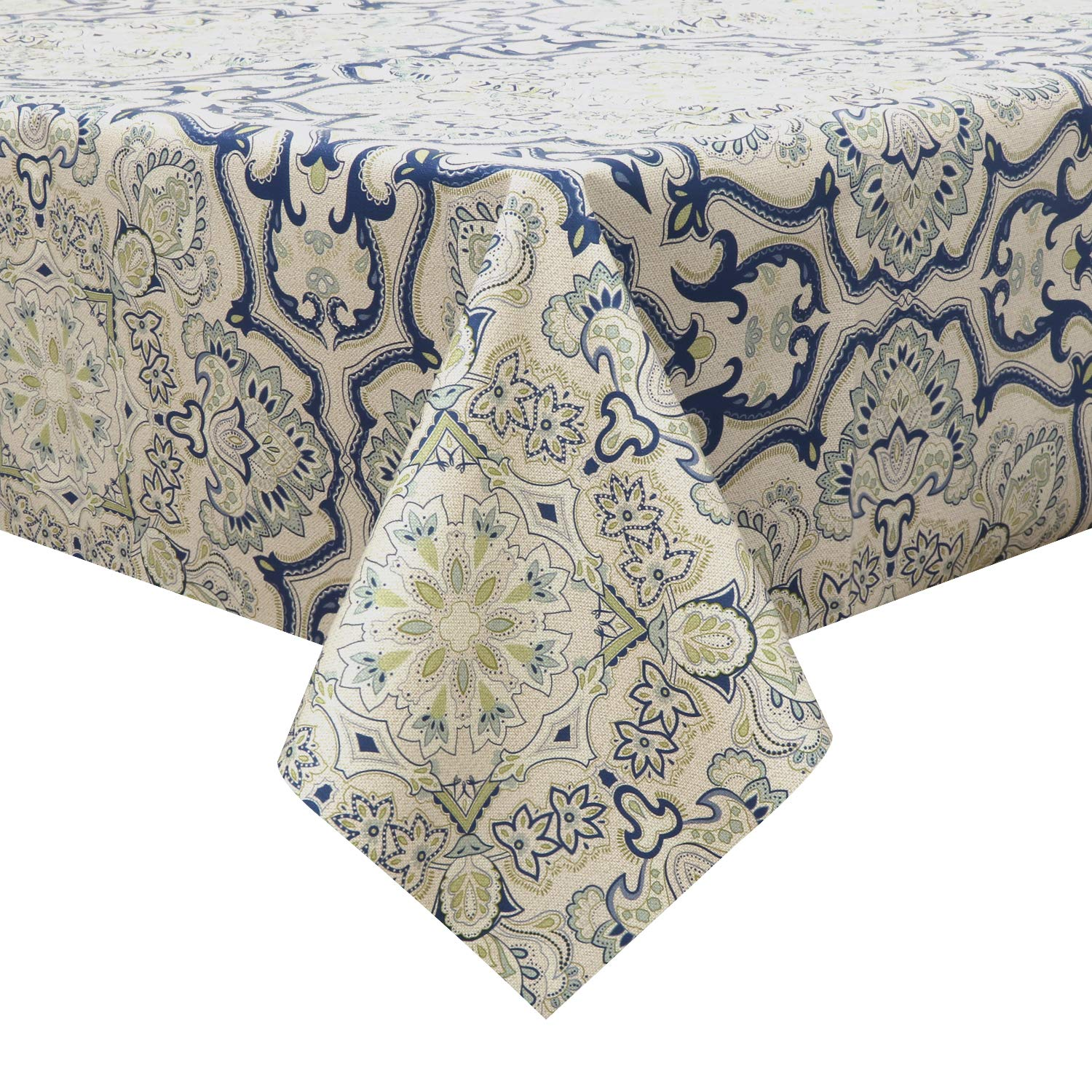 LEEVAN Heavy Weight Vinyl Square Table Cover Wipe Clean PVC Tablecloth Oil-Proof Waterproof Stain-Resistant-54 x 72 Inch (Blue Bluish)