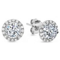 1.54cttw Brilliant Round Cut Halo Solitaire Highest Quality Moissanite & Simulated Diamond Unisex Anniversary Gift Solitaire Stud Screw Back Earrings Real Solid 14k White Gold