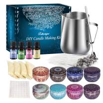 Aibrisk DIY Candle Making Kits Soy Candle Making Kit Supplies Including Candle Make Pouring Pot, Candle Wicks, Wicks Sticker, Candle Wicks Holder, Beeswax, Candles Tins and Spoon