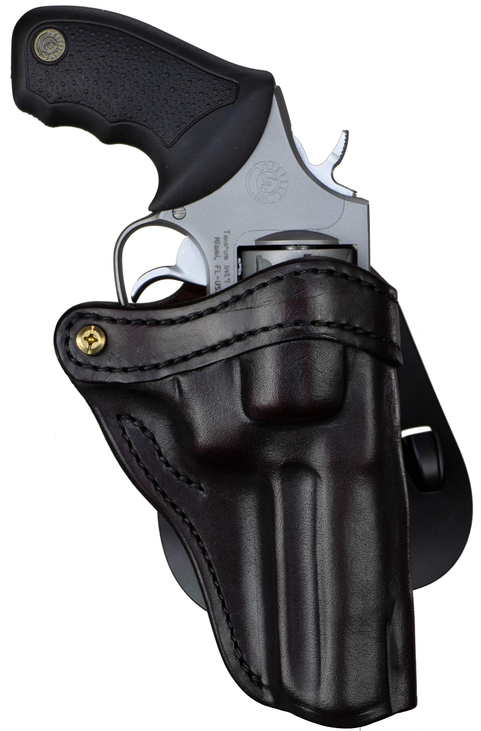 1791 GUNLEATHER K-Frame Revolver Paddle Holster - OWB CCW Holster - Right Handed Leather Gun Holster for Belts - Ruger GP100, Smith & Wesson K Frame and 686