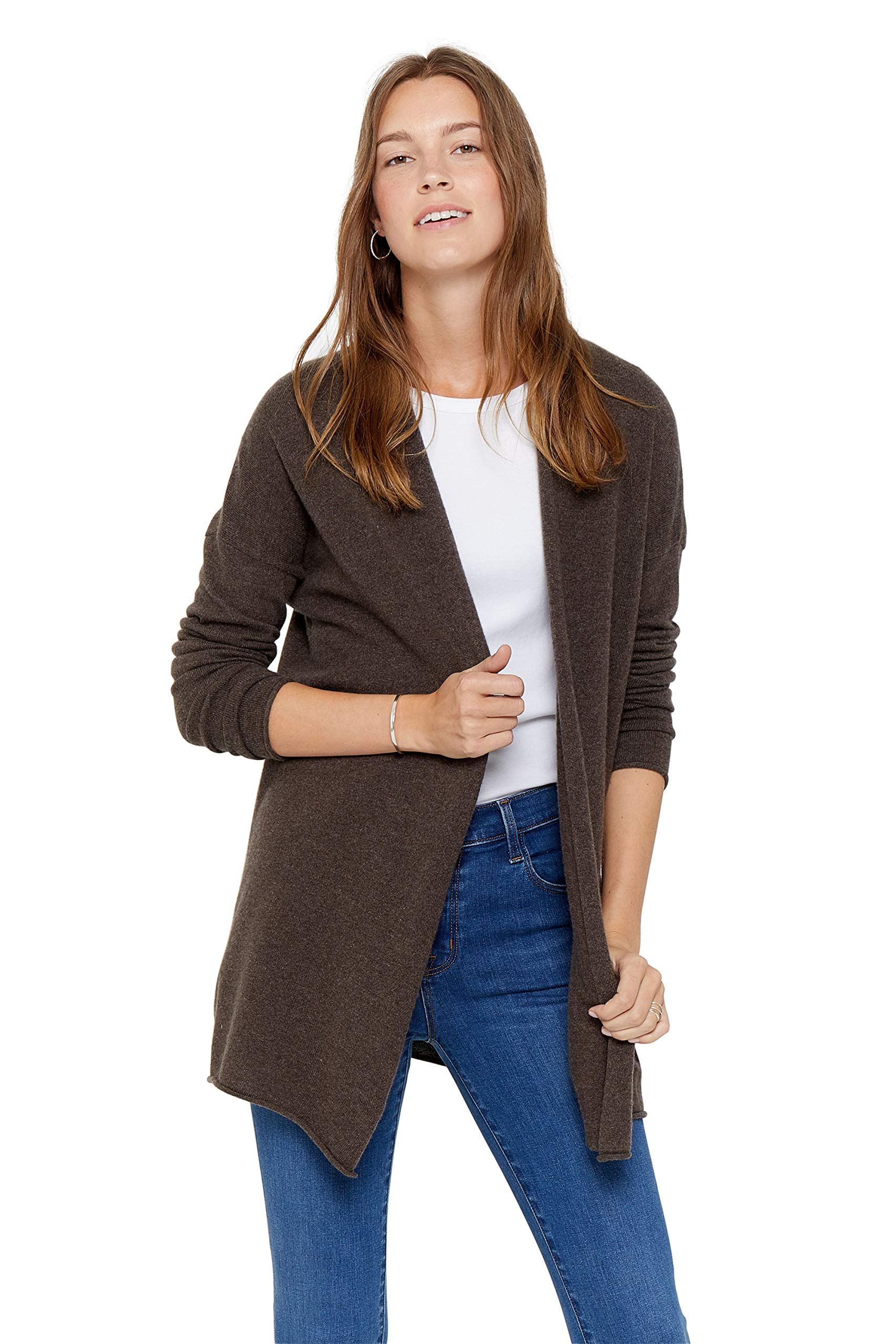 State Cashmere Lightweight Mid-Thigh Open Cardigan 100% Pure Cashmere Long Sleeve Sweater for Women