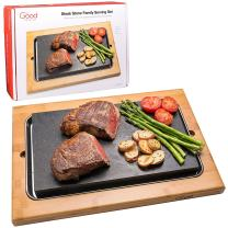 "Cooking Stone- Extra Large Lava Hot Stone Tabletop Grill Cooking Platter and Cold Lava Rock Indoor BBQ Hibachi Grilling Stone (12.5"" x 7.5"") w Bamboo Platter"
