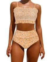 OMKAGI Women's Bandeau Bikini Sets Cute Shirred Swimsuit High Waisted Bathing Suit