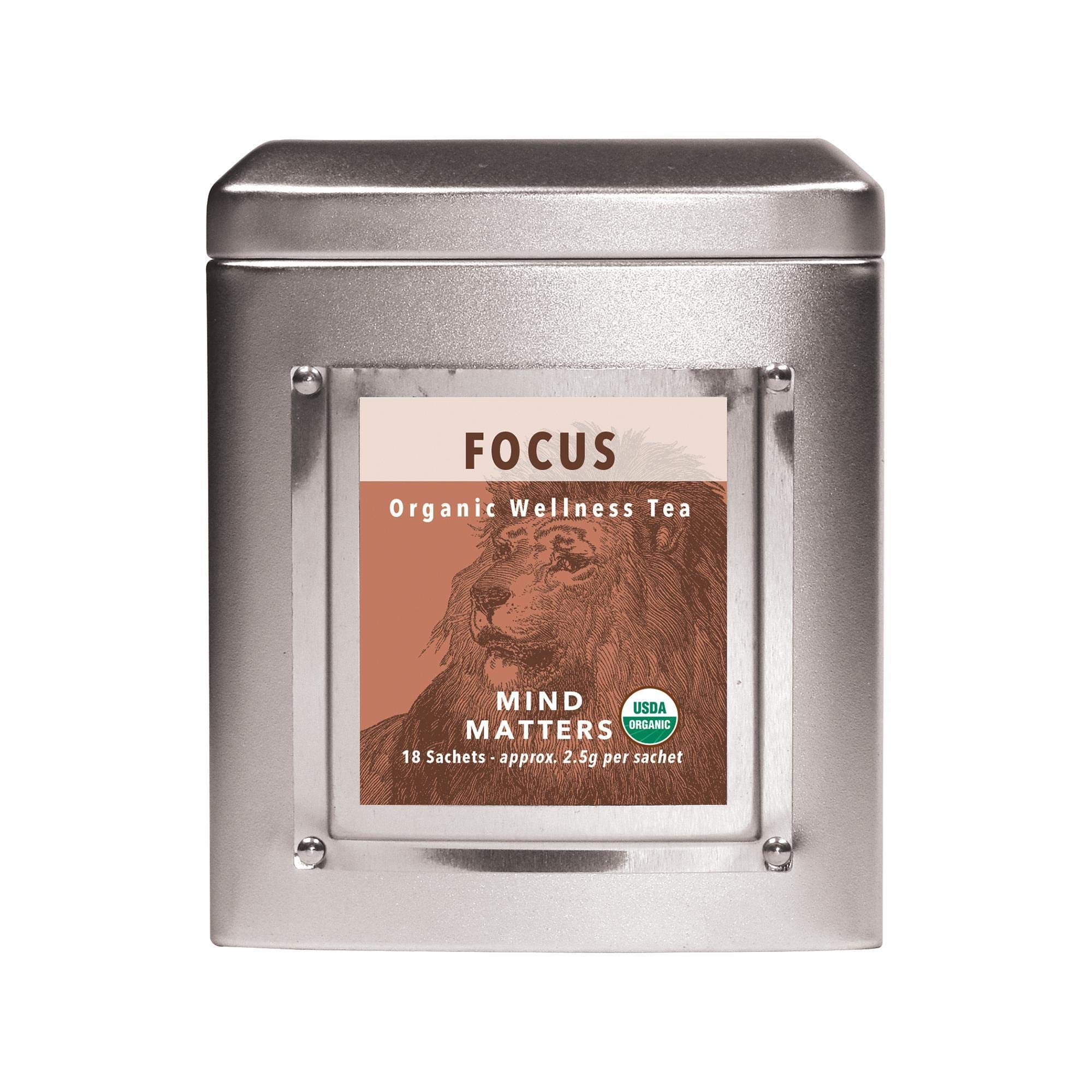 White Lion Focus (Mind Matters) Wellness Tea   100% USDA Certified Organic   Stay Alert and Focused   18 Count Tin