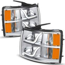 OEDRO Headlight Assemblies Compatible with 2007-2013 Chevy Silverado 1500/2007-2014 2500HD 3500HD, LED Tube DRL Projector Headlamp, Driver & Passenger Side, Chrome Housing