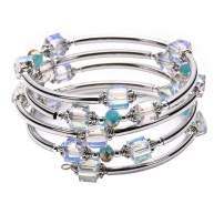Crystal Beaded Bangle Wrap Bracelet - Fashion Bohemian Jewelry Multilayer Charm Bracelets Gift Women Girl