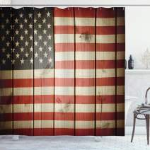 """Ambesonne American Flag Shower Curtain, USA Flag Over Vertical Striped Wooden Board Citizen Solidarity Artwork, Cloth Fabric Bathroom Decor Set with Hooks, 75"""" Long, Coral Cream"""