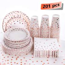 201Pcs Rose Gold Dot Disposable Party Supplies, Paper Plates, Napkins Cups, 1 Plastic Tablecloth, 50 Dinner Plates, Dessert Plates, Paper Cups, Luncheon Napkins, for Baby Shower Wedding, Father's Day
