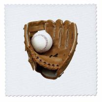 3dRose Baseball Glove - Quilt Square, 6 by 6-Inch (qs_4386_2)