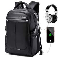 """Laptop Backpack, OUTOP Travel Computer Bag Women & Men, Anti Theft Water Resistant College, Slim Business Backpack USB Charging Port Headphone Interface 15.6-17"""" Notebook (Black)"""