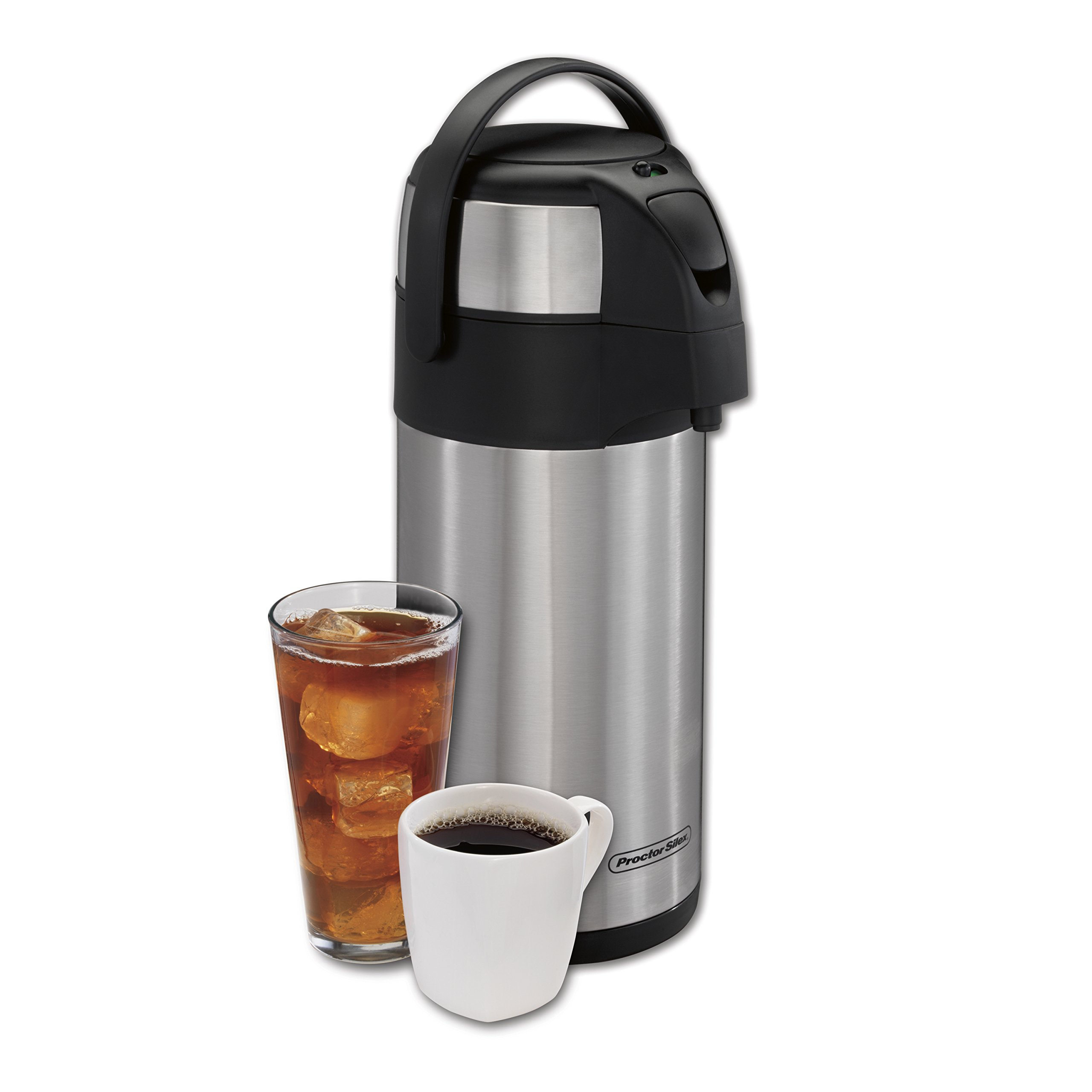 Proctor Silex 40411 Thermal Airpot Hot Coffee Cold Beverage Dispenser with Pump, Vacuum Insulated, Compact and Portable, 3 Liter, Stainless Steel