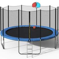 Merax 15FT Round Trampoline with Safety Enclosure Net, Safety Pad, Outdoor Trampoline for Kids