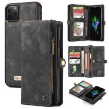 """AKHVRS iPhone 11 Pro Max Wallet Case, Handmade Premium Cowhide Leather Wallet Case,Zipper Wallet Case Cover [Magnetic Closure] Detachable Magnetic Case & Card Slots for iPhone 11 Pro Max 6.5"""" - Black"""