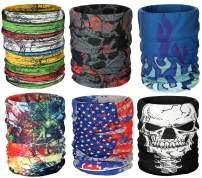 6 PCS Headwear Bandana Face Mask Seamless Neck Gaiter for Fishing UV Resistence Head Wrap for Sports Boho Headbands for Women Magic Scarf Mask for Men Multifunctional for Raves, Riding, Outdoors,Dust