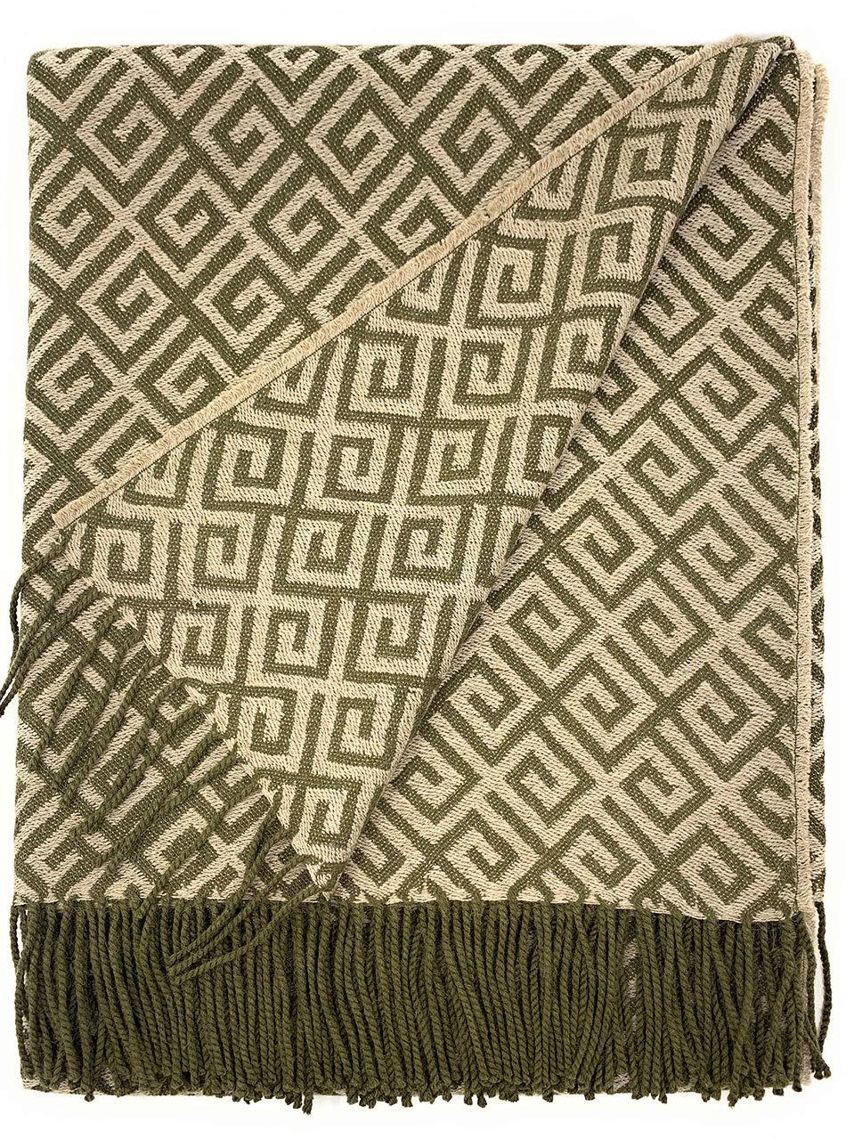 Alpaca Home   Geometric Greek Key Alpaca Throw Blanket   100% Baby Alpaca Wool   5.9 Feet Long X 4.25 Feet Wide   Hypoallergenic, Soft & Cozy (Olive/Jute)