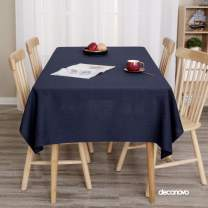 Deconovo Solid Tablecloth Rectangle Oblong Faux Linen Water Resistant Tablecloth for Card Table Navy Blue 60x102 Inch