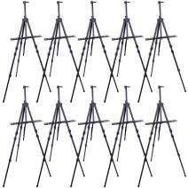 """U.S. Art Supply 72"""" Sturdy Black Aluminum Tripod Artist Field and Display Easel Stand (Pack of 10) - Adjustable Height 25"""" to 6 Feet, Holds 52"""" Canvas - Floor and Tabletop Displaying - Portable Bag"""